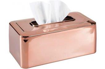 (Rose Gold) - mDesign Modern Metal Tissue Box Cover for Disposable Paper Facial Tissues, Rectangular Holder for Storage on Bathroom Vanity, Countertop, Bedroom Dresser, Night Stand, Desk, Table - Rose Gold