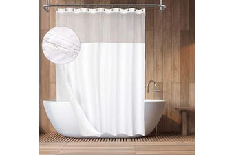 (71Wx84H, White) - Barossa Design Hotel Style Cotton Shower Curtain with Snap-in Fabric Liner, 210cm Extra Long, Mesh Window Top, Honeycomb Waffle Weave Cotton Blend Fabric, Washable, White, 180cm x 210cm