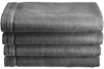 Creative Scents Cotton Velour Fingertip Towel, 4 Piece Set, 28cm by 46cm , Grey with Embroidered Grey Trim