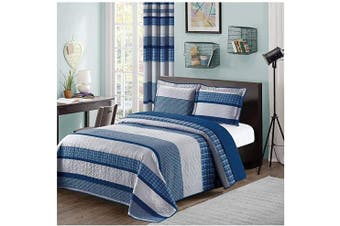 (Twin Size, Blue & Grey) - All American Collection Blue and Grey Modern Plaid 2-Piece Twin Bedspread and Pillow Sham Set | Matching Curtains Available