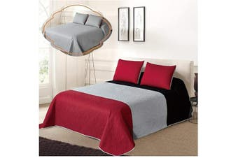 (King / Cal King Size, Black/Grey/Red) - All American Collection Tri-Colour Reversible King/Cal King Oversized Bedspread and Pillow Sham Set | Mix and Match for New Looks!
