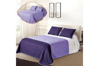 (Full/Queen Size, White/L.purple/Dk.purple) - All American Collection New 3pc Solid Three Colour Combination Reversible Bedspread Set (Full/Queen Size, White/L.Purple/Dk.Purple)
