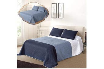 (Full/Queen Size, White/Blue/Navy) - All American Collection New 3pc Solid Three Colour Combination Reversible Bedspread Set (Full/Queen Size, White/Blue/Navy)