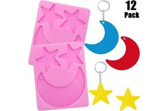 2 Pieces Star Moon Silicone Mould Star Moon Shaped Silicone Keychain Mould DIY Silicone Baking Mould with 10 Pieces Keyrings for DIY Keychain, Chocolate, Cake, Pudding, Ice Cream, Jelly Making