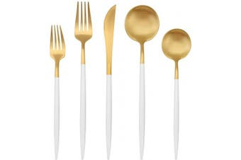 Matte Gold Silverware Set with white handle, Bysta 5-Piece Stainless Steel Flatware Set, Kitchen Utensil Set Service for 1, Tableware Cutlery Set for Home and Restaurant, Satin Finish, Dishwasher Safe