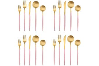 Matte Gold Silverware Set with pink handle, Bysta 20-Piece Stainless Steel Flatware Set, Kitchen Utensil Set Service for 4, Tableware Cutlery Set for Home and Restaurant, Satin Finish, Dishwasher Safe