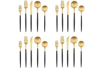 Matte Gold Silverware Set with black handle, Bysta 20-Piece Stainless Steel Flatware Set, Kitchen Utensil Set Service for 4, Tableware Cutlery Set for Home and Restaurant, Dishwasher Safe