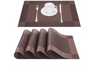 (4, Brown) - GIVERARE Placemats Set of 4, Heat-Resistant Woven Vinyl Placemat, Non-Slip Washable PVC Table Mat, Easy to Clean Premium Plastic Table Mats for Dining Table, Kitchen Table (Brown)