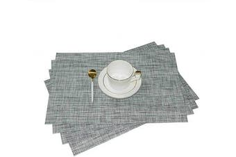 (4, Smoke Gray) - GIVERARE Placemats Set of 4, Heat-Resistant Woven Vinyl Placemat, Non-Slip Washable PVC Table Mat, Easy to Clean Premium Plastic Table Mats for Dining Table, Kitchen Table (Smoky Grey)