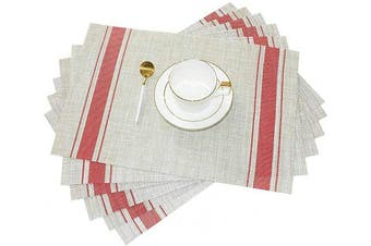 (6, Red) - GIVERARE Placemats Set of 6, Heat-Resistant Woven Vinyl Placemat, Non-Slip Washable PVC Table Mat, Easy to Clean Premium Plastic Table Mats at for Dining Table, Kitchen Table (Stripe Red)