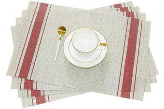 (4, Red) - GIVERARE Placemats Set of 4, Heat-Resistant Woven Vinyl Placemat, Non-Slip Washable PVC Table Mat, Easy to Clean Premium Plastic Table Mats for Dining Table, Kitchen Table (Stripe Red)