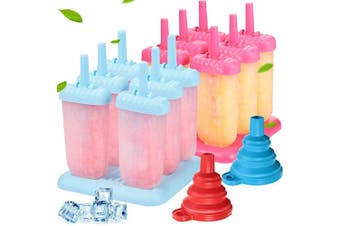 2 Pieces Plastic Popsicle Mould 6 Cavities Ice Cream Mould Reusable Ice Pop Moulds with Stable Base and 2 Pieces Silicone Folding Funnels for DIY Popsicle Making