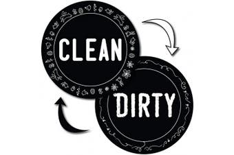 (B) Black) - Dishwasher Clean Dirty Magnet Sign Double Sided Round Cool Design with Bonus Magnetic Plate Universal Magnetic Sign by MyPrintOn (B) Black)