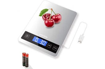 ERAVSOW USB Rechargeable Food Scale,33lb/15KG Digital Kitchen Scale for Cooking and Baking,1g Accuracy and Back-lit LCD Display.