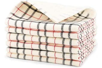 (Creamy White) - Beasea Kitchen Dish Cloths, 6pcs 100% Cotton Plaid Kitchen Towels 33cm x 33cm Soft Comfort Tea Towel Highly Absorbent Cleaning Cloths for Household Cooking Cleaning - Creamy White
