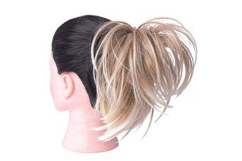 (Straight Bun, 16H613#) - AQINBEL Tousled Synthetic Hairpiece Scrunchies Straight Elastic Updo Scrunchy Bun For Women (Colour: 16H613#)