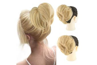 (Straight Bun, 18#) - AQINBEL Tousled Synthetic Hairpiece Scrunchies Straight Elastic Updo Scrunchy Bun For Women (Colour: Light Ash Blonde)