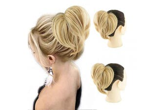 (Straight Bun, 18H613#) - AQINBEL Tousled Synthetic Hairpiece Scrunchies Straight Elastic Updo Scrunchy Bun For Women (Colour: Lightest Ash Blonde Mixed Bleach Blonde)