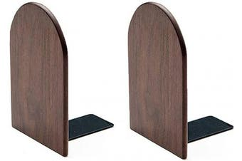 Da Jia Inc 1 Pair 17cm Walnut Wood Bookends For Home Office School Desk Book Ends Decorative Bookshelf Display Organisers Gift (Walnut Round, 17cm Hx 4.7 Wx 4 L)