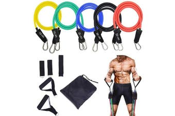 STARISE Resistance Bands Set - 5-Piece Exercise Bands - Portable Home Gym Accessories - Stackable Up to 70kg. - Perfect Muscle Builder for Arms, Back, Leg, Chest, Belly, Glutes