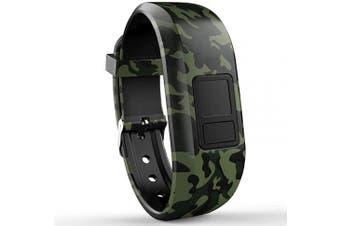 (Regular Fit(15cm  - 23cm ), Green Camo) - iBREK for Garmin Vivofit 3/jr/jr 2 Bands, Adjustable Replacement Wristbands with Watch Buckle for Kids Women Men(No Tracker)