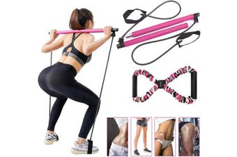 BQYPOWER Pilates Bar Kit with Resistance Band, Portable Yoga Pilates Stick 8 Shape Chest Rally Pull Rope Muscle Toning Bar Home Gym Pilates Body Shaping Pilates Stick with Exercise Band Workout Set…