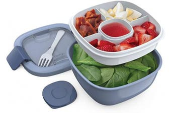 Bentgo Salad BPA-Free Lunch Container with Large 1600ml Bowl, 3-Compartment Bento-Style Tray for Salad Toppings and Snacks, 90ml Sauce Container for Dressings, and Built-In Reusable Fork (Slate)