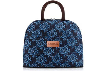 (Black with Blue Flower) - BALORAY Lunch Bag Tote Bag Lunch Organiser Lunch Holder Insulated Lunch Cooler Bag for Women/Wen (Black with Blue Flower)