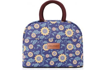 (Blue with Yellow Flower) - BALORAY Lunch Bag Tote Bag Lunch Organiser Lunch Holder Insulated Lunch Cooler Bag for Women/Wen (Blue with Yellow Flower)