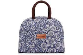 (Blue with Flower) - BALORAY Lunch Bag Tote Bag Lunch Organiser Lunch Holder Insulated Lunch Cooler Bag for Women/Wen (Blue with Flower)