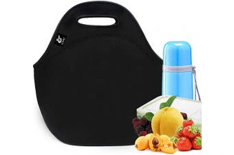 (Pure Black) - LOVAC Reusable Lunch Bag for Men,Lunch Tote,Durable and Waterproof Neoprene Lunch Bags,Insulated Soft and Lightweight (Pure Black)
