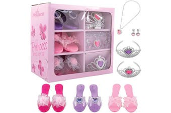 Dress Up America Dress Up Shoes for Little Girls - Princess Dress Up Set Includes Jewellery and 3 Pairs of Princess Shoes, 2 Tiaras, Earrings and Necklace, Little Girl and Toddler Role-Play Gift Set