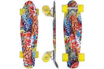 (Graffiti) - Eseewin 60cm x 15cm Complete Mini Cruiser Skateboard for Beginners Youths Teens Girls Boys with LED Wheels