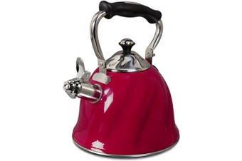 Gibson Alderton 2.2l. Whistle Tea Kettle, Quarts, Red