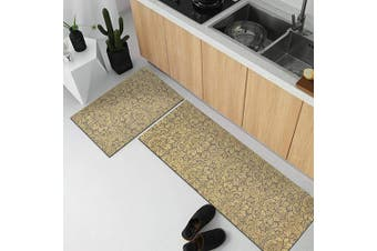 (2 Set 44cm  X 70cm  44cm  x 140cm , Beige) - MAYSHINE Beige Natural Rubber Backing Kitchen Rugs Set Doormat Runner Comfort Mat - 44cm X 70cm 44cm x 140cm