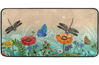 AGONA Anti Fatigue Kitchen Mat Summer Dragonflies Butterfly Colourful Floral Kitchen Rugs Non Slip Soft Standing Mats Absorbent Floor Mat Bath Rug Runner Area Rug Carpet for Home Decor Indoor Outdoor