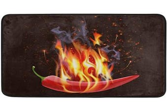 AGONA Anti Fatigue Kitchen Mat Creative Burning Chilli Pepper Kitchen Floor Mat Soft Standing Mats Absorbent Area Rugs Non Slip Kitchen Rugs Bath Rug Runner Carpet for Home Decor Indoor Outdoor