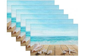 (Sea Shells) - Britimes Set of 6 Placemats Sea Shells Summer Beach Kitchen Decorative Polyester Non-Slip and Heat-Resistant 30cm x 46cm Place Mats for Dining Table