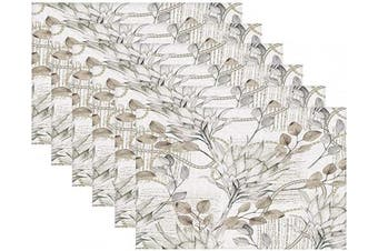 (Grayish Yellow Leaves) - Britimes Set of 6 Placemats Retro Greyish Yellow Leaves Kitchen Decorative Polyester Non-Slip and Heat-Resistant 30cm x 46cm Place Mats for Dining Table