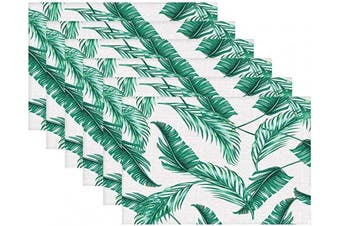 (Green Leaf) - Britimes Set of 6 Placemats Green Leaf White Background Kitchen Decorative Polyester Non-Slip and Heat-Resistant 30cm x 46cm Place Mats for Dining Table