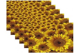 (Blooming Sunflower) - Britimes Set of 6 Placemats Blooming Sunflower Spring Garden Kitchen Decorative Polyester Non-Slip and Heat-Resistant 30cm x 46cm Place Mats for Dining Table