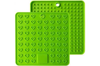 (18cm , Green) - AINAAN 2 Pcs Square Premium Silicone Pot Holder,Trivets, Mitts,Heat Resistant Hot Pads, 18cm , Green