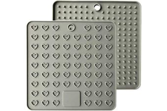(18cm , Gray) - AINAAN 2 Pcs Square Premium Silicone Pot Holder,Trivets, Mitts,Heat Resistant Hot Pads, 18cm , Grey