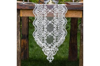 "(12""X96""(30X250cm), White) - ARTABLE Rectangle Table Runner Lace Macrame Embroidered Table Runners with Exquisite Vintage Shabby Chic for Holiday Wedding Long Dinner Tables (White, 12""X96""(30X250cm))"