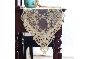 "(12""X84""(30X210cm), Light Gold) - ARTABLE Rectangle Table Runner Lace Macrame Embroidered Table Runners with Exquisite Vintage Shabby Chic for Holiday Wedding Long Dinner Tables (Light Gold, 12""X84""(30X210cm))"