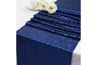 (36cm  X 180cm , Navy Blue) - Eternal Beauty Sequin Table Runners 36cm X 180cm Navy Blue Table Runner-Navy Blue Wedding Table Runner for Christmas Party Birthday Baby Shower