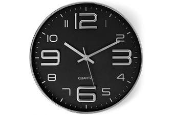 (30cm . Modern) - Bernhard Products Black Wall Clock 30cm Stylish Silver Silent Non-Ticking Quartz Battery Operated Modern Design for Home/Office/Kitchen/Bedroom/Living Room