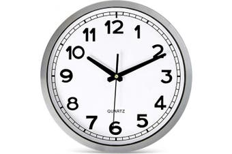 (30cm  Metal) - Bernhard Products Wall Clock Silent Non-Ticking Large 30cm Silver Metal Frame Quartz Battery Operated Easy to Read Office Classroom Kitchen Living Room Bathroom Sweeping Clocks, Black Modern Numbers