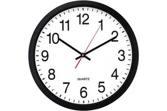 (41cm  B) - Bernhard Products Black Wall Clock, Silent Non Ticking - 41cm Extra Large Quality Quartz Battery Operated Round Easy to Read Home/Office/Business/Kitchen/Classroom/School Clock (41cm B)