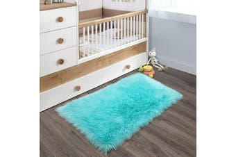 (0.6m x 0.9m Rectangle, Light Blue) - YOH Super Soft Area Rugs Silky Smooth Bedroom Mats for Living Room Kids Room Multicolor Optional Home Decor Carpets (0.6m x 0.9m Rectangle, Light Blue)
